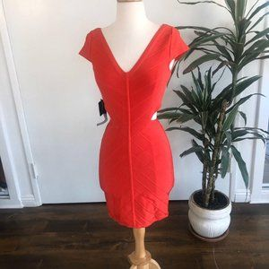 Bebe Hibiscus Cutout Bandage Dress
